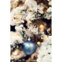 Vánoční koule modré barvy s dekorem 8cm