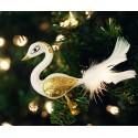 Vánoční odzoba labuť na klipu, zlatá