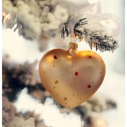 Srdce ve zlaté barvě s barevnými kamínky