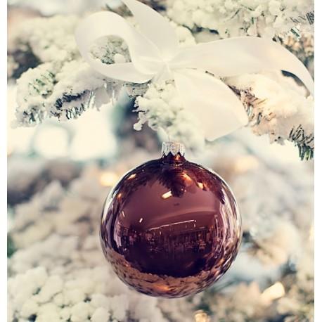 Vánoční ozdoba koule hnědý lak, 10 cm