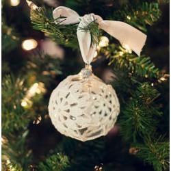 Vánoční koule čirá s bílou dekorací, 8 cm