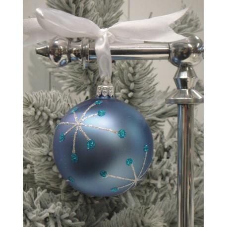 Vánoční koule modré barvy s dekorem, 10 cm